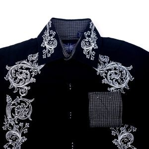English Laundry Embroidered Hand Sewn Black Shirt